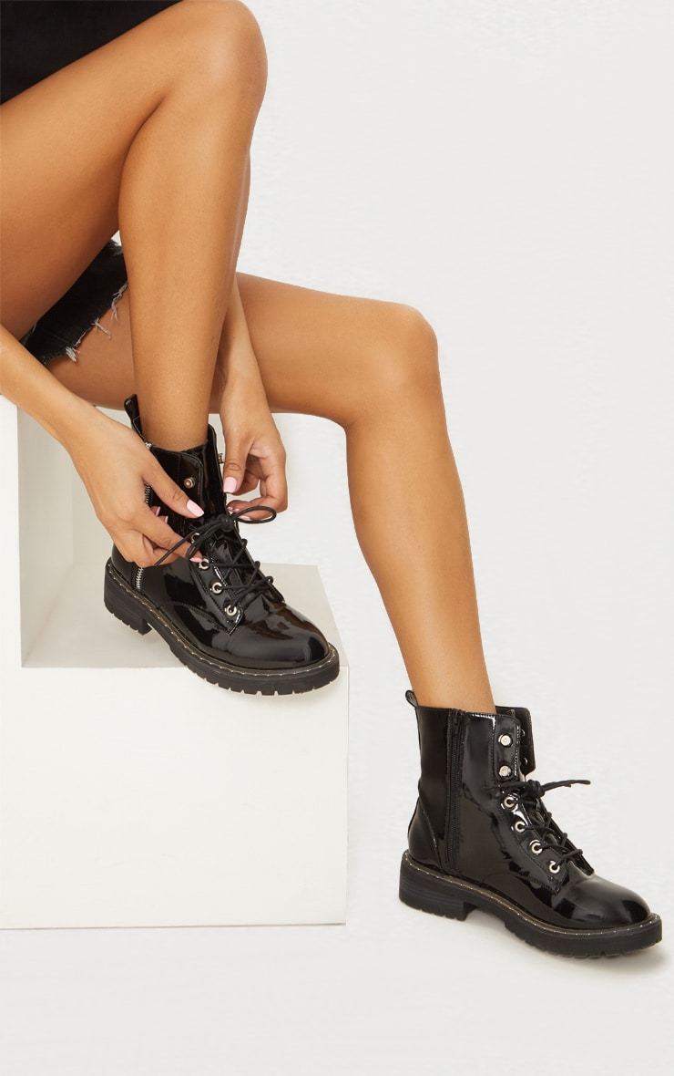 Black Chunky Lace Up Boot 2