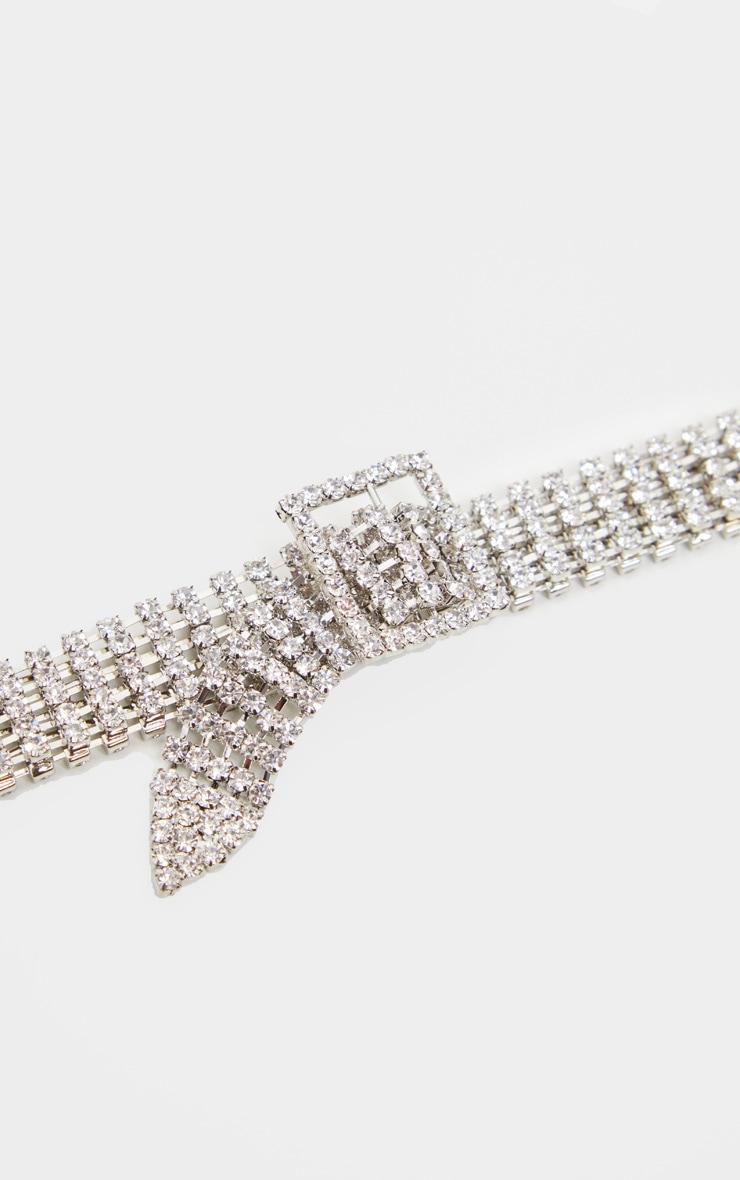 Silver Diamante Buckle Style Choker 4