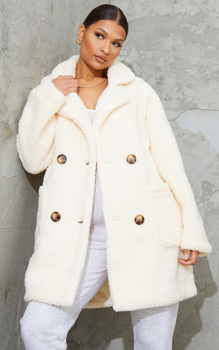 Manteau mi-long en imitation peau de mouton crème 1