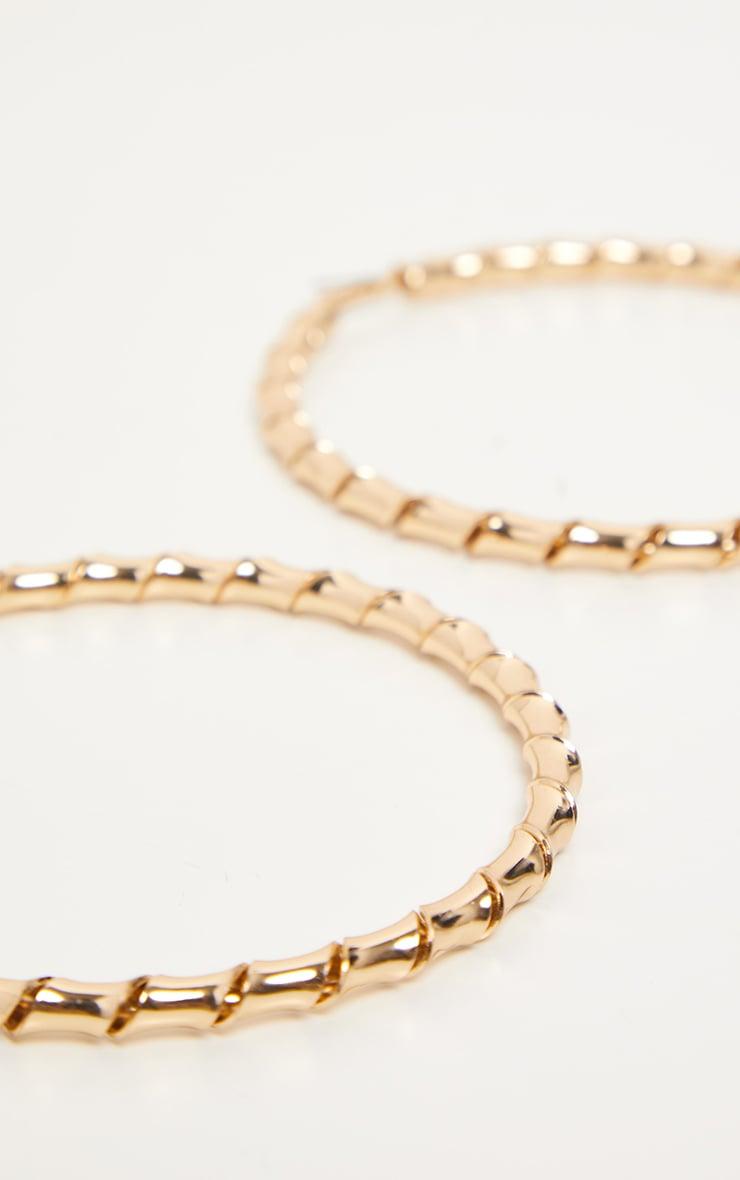 Gold Twisted Large Hoop Earrings 3