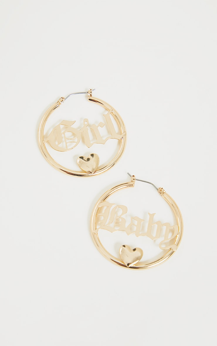 Gold Babygirl Hoop Earrings 3