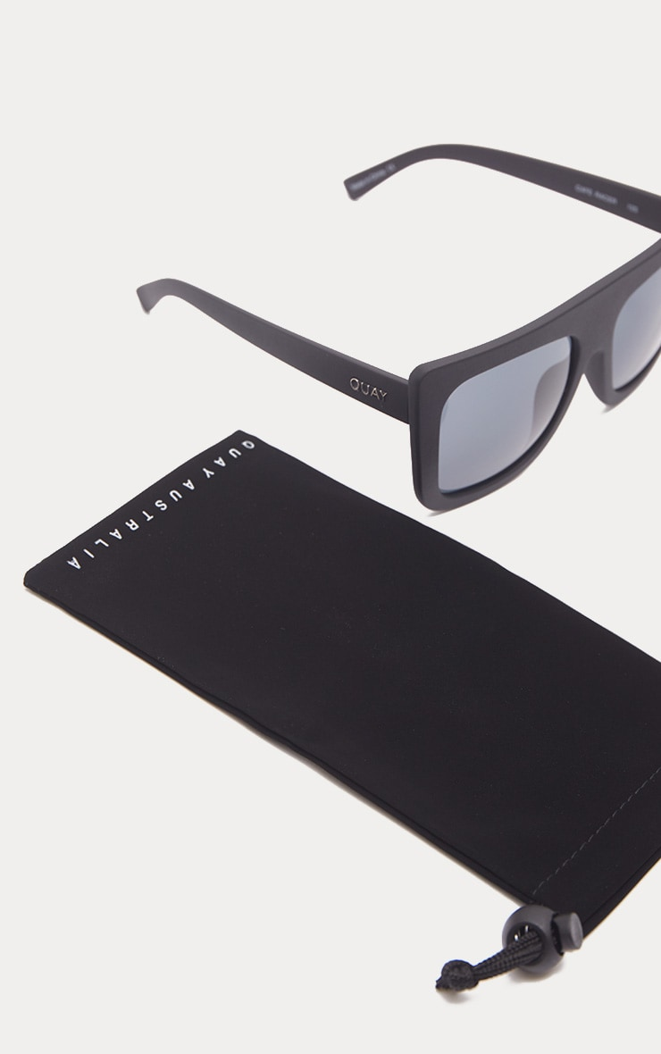 b10f915accb QUAY AUSTRALIA Black Café Racer Flat Top Sunglasses image 3