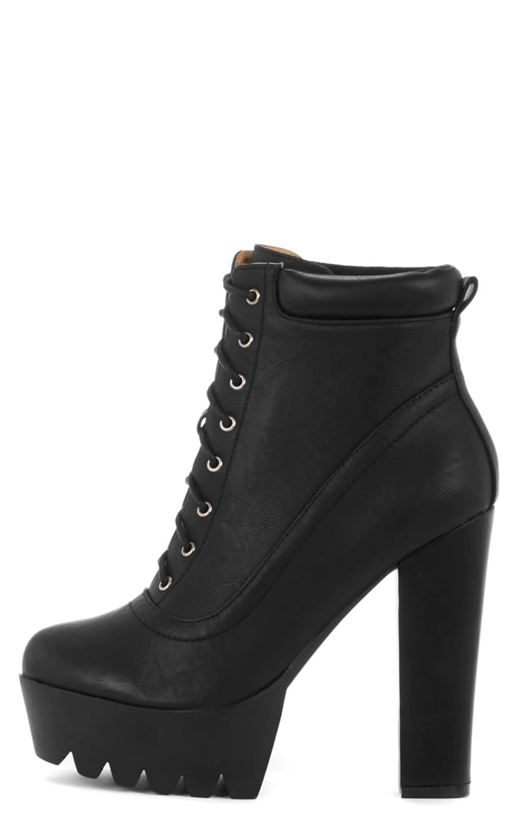 Carys Black Lace Up Cleated Boot 1