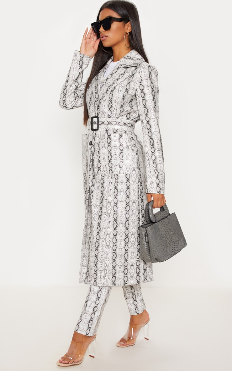 Grey Snake Print PU Trench 4