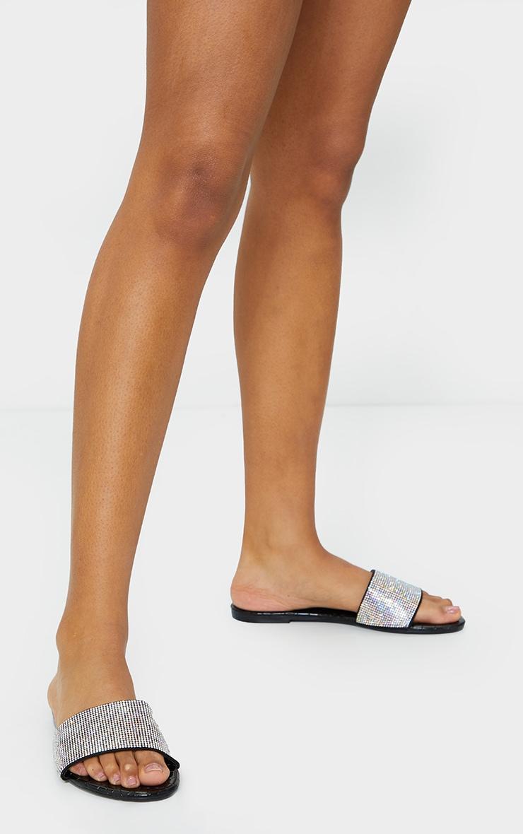 Black Diamante Mule Sandal 1