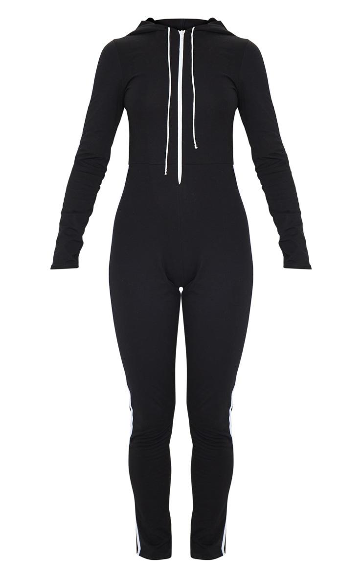 Combinaison de sport hoodie noire à bande sport blanche et détail zip 5