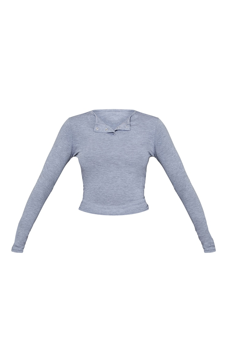 Grey Jersey Fitted Popper Long Sleeve Crop Top 5