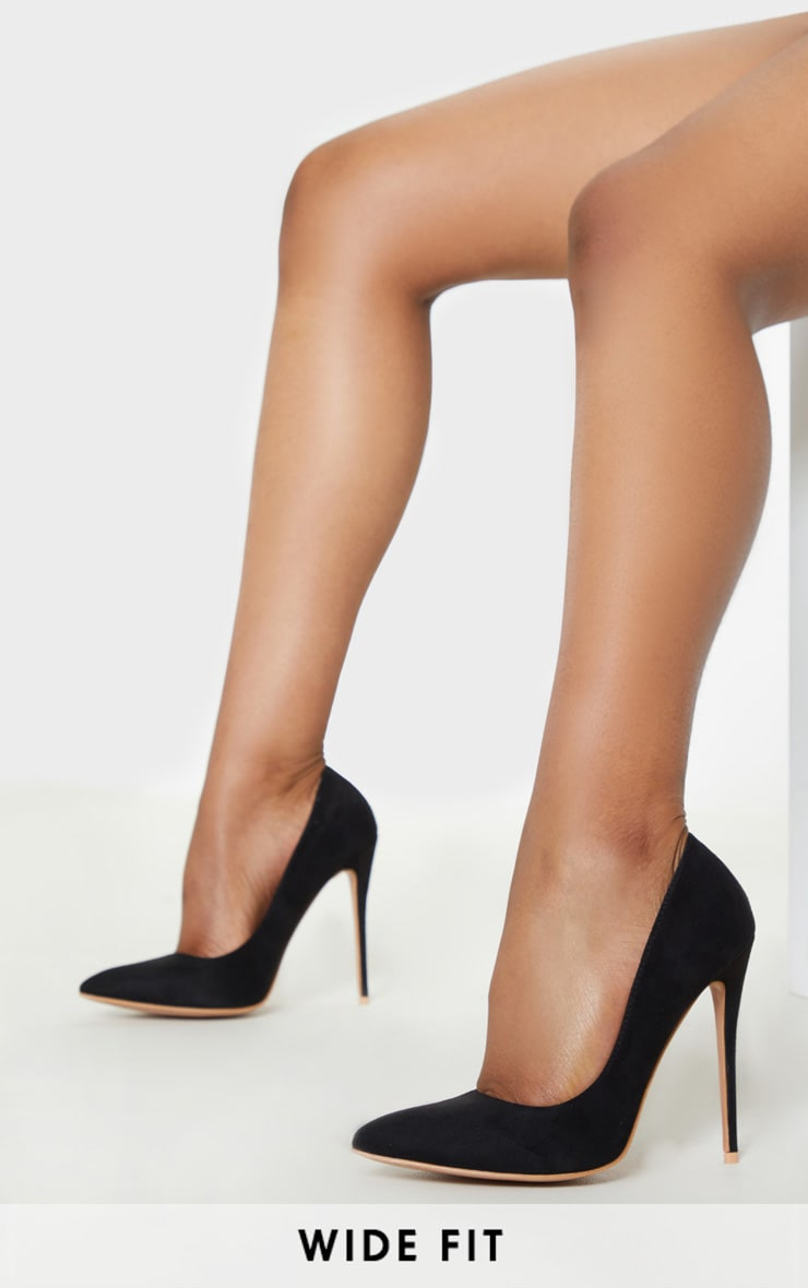 Black Wide Fit Court Shoes 1