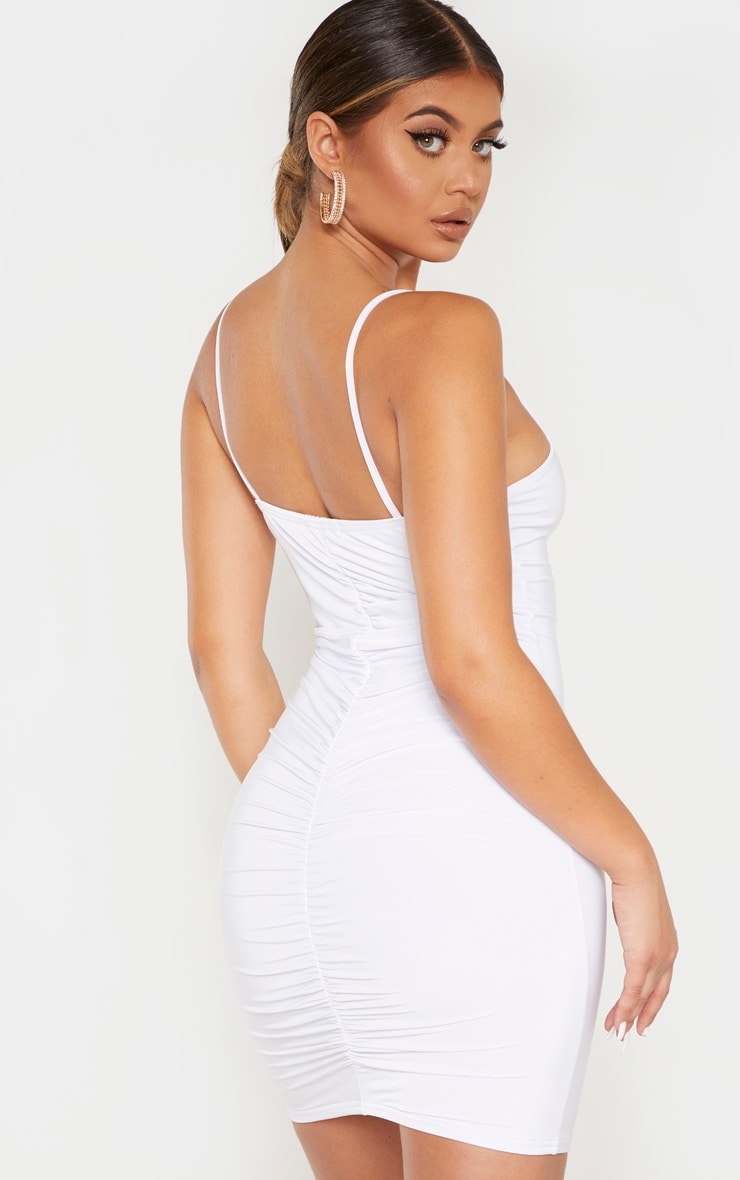 White Slinky Strappy Ruched Back Bodycon Dress 1