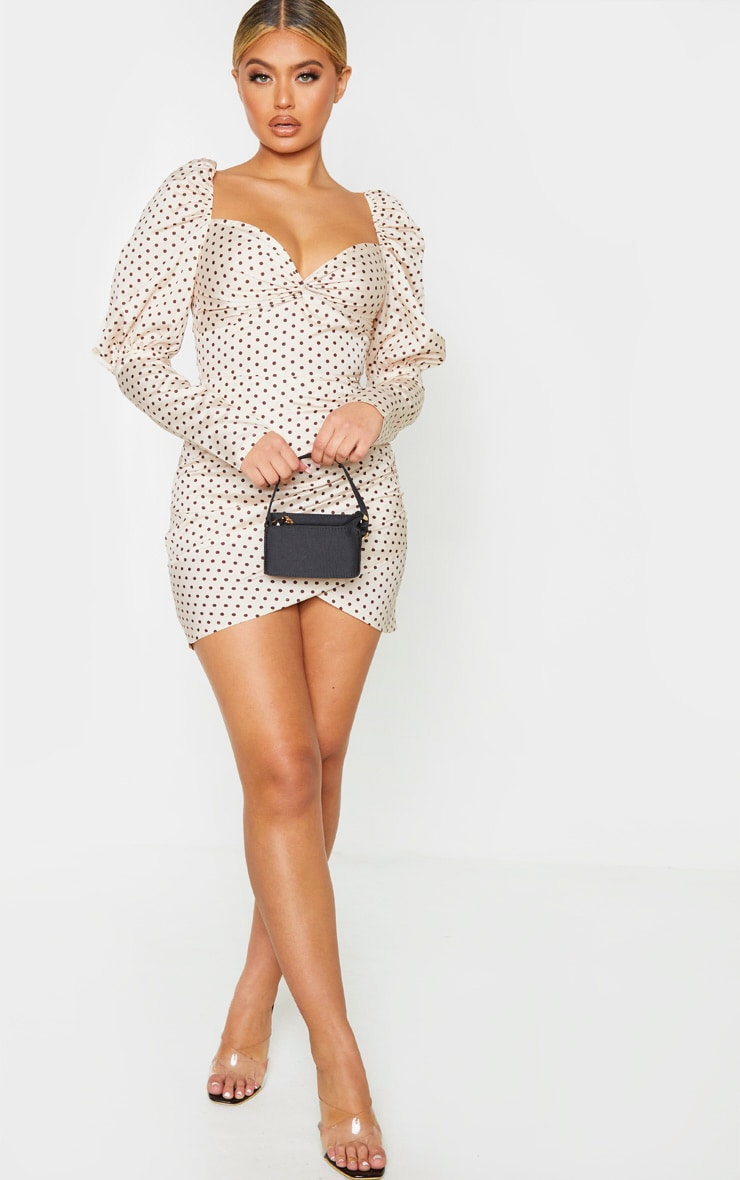 Nude Polka Dot Puff Sleeve Twist Detail Bodycon Dress 4