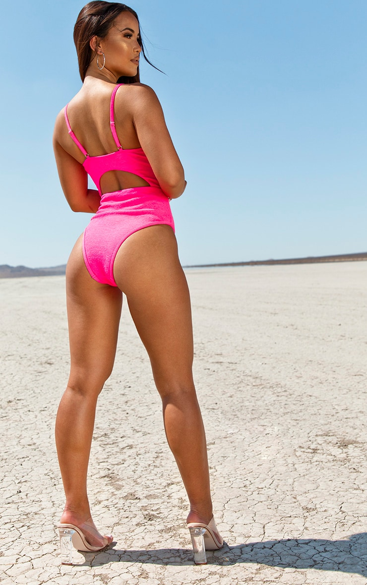 Neon Pink Mini Crinkle Underwired Cut Out Swimsuit 4
