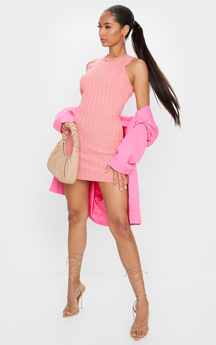 Pink Ribbed Knitted Sleeveless Mini Dress 3