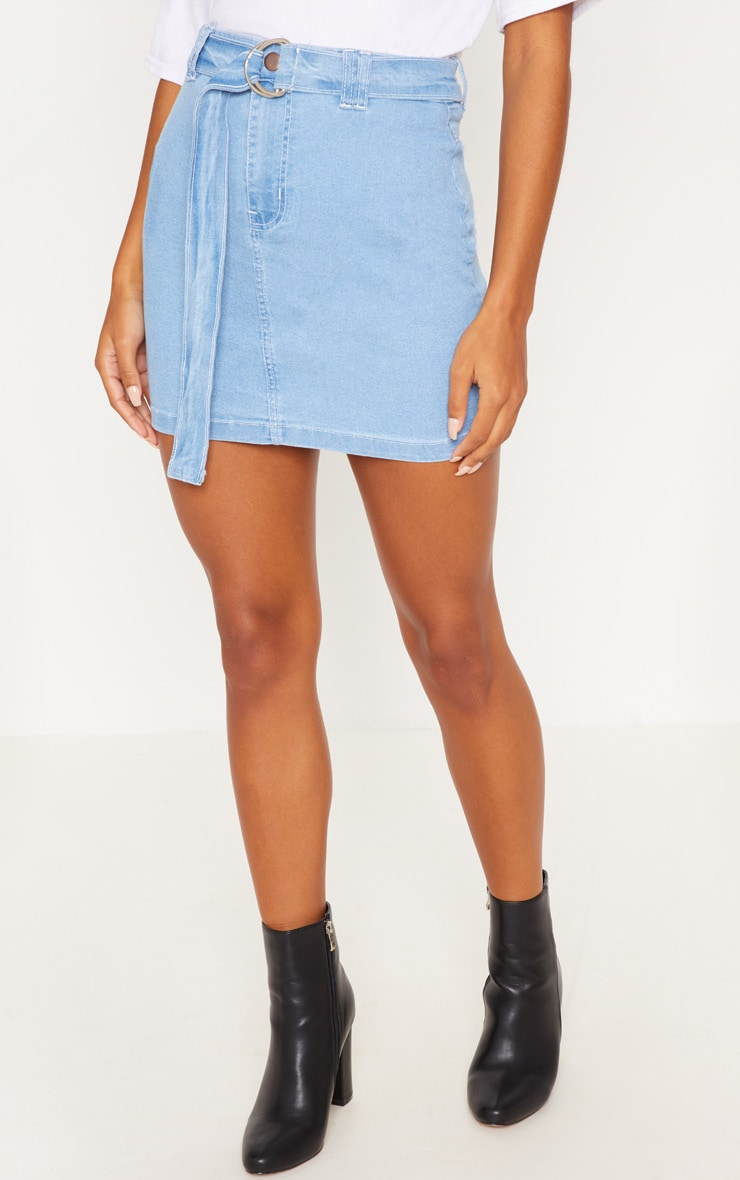 Light Wash O-Ring Detail Denim Mini Skirt 2