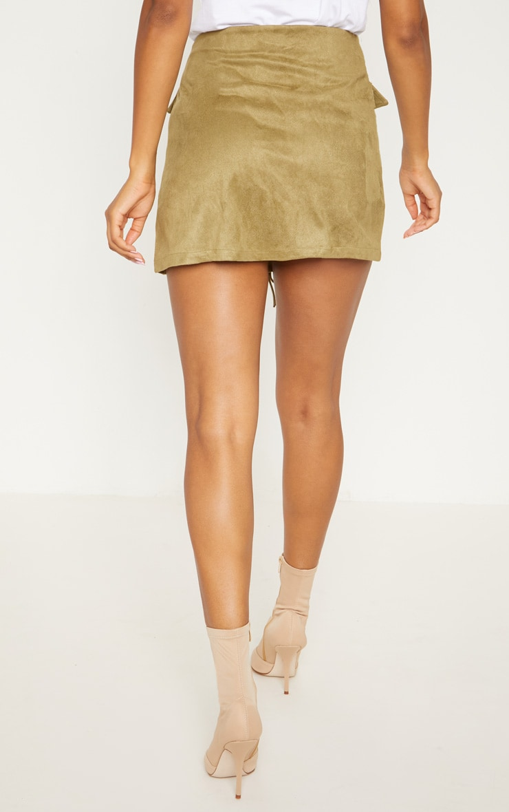 Khaki Faux Suede Lace Up Mini Skirt 4