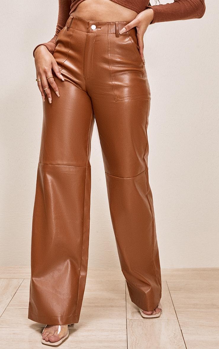 Tan Faux Leather Stitch Detail Wide Leg Trouser 2