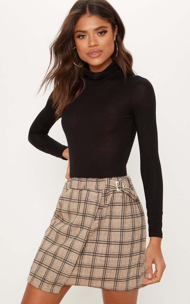 Stone Check Buckle Detail Mini Skirt