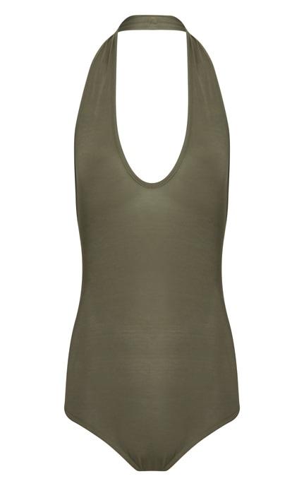 Basic Khaki Halterneck Bodysuit 3
