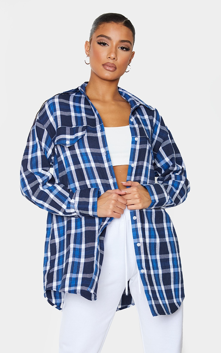 Blue Check Oversized Long Sleeve Dad Shirt 1