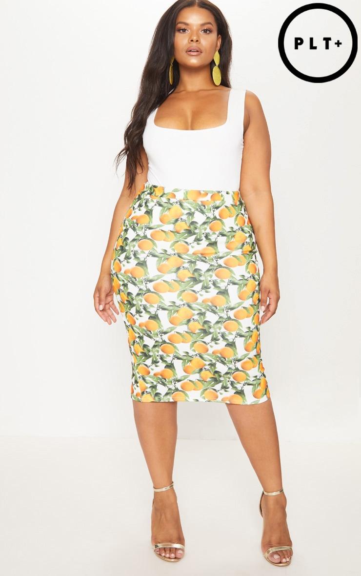 Plus Orange Print Midi Skirt