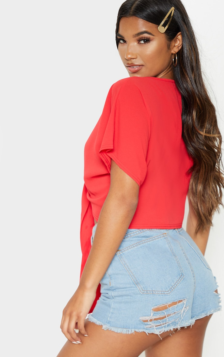 Red Chiffon Knot Front Short Sleeve Crop Blouse  2