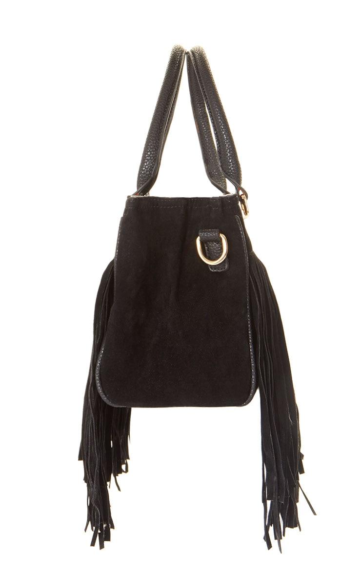 Ivy Black Suedette Fringe Bag  3