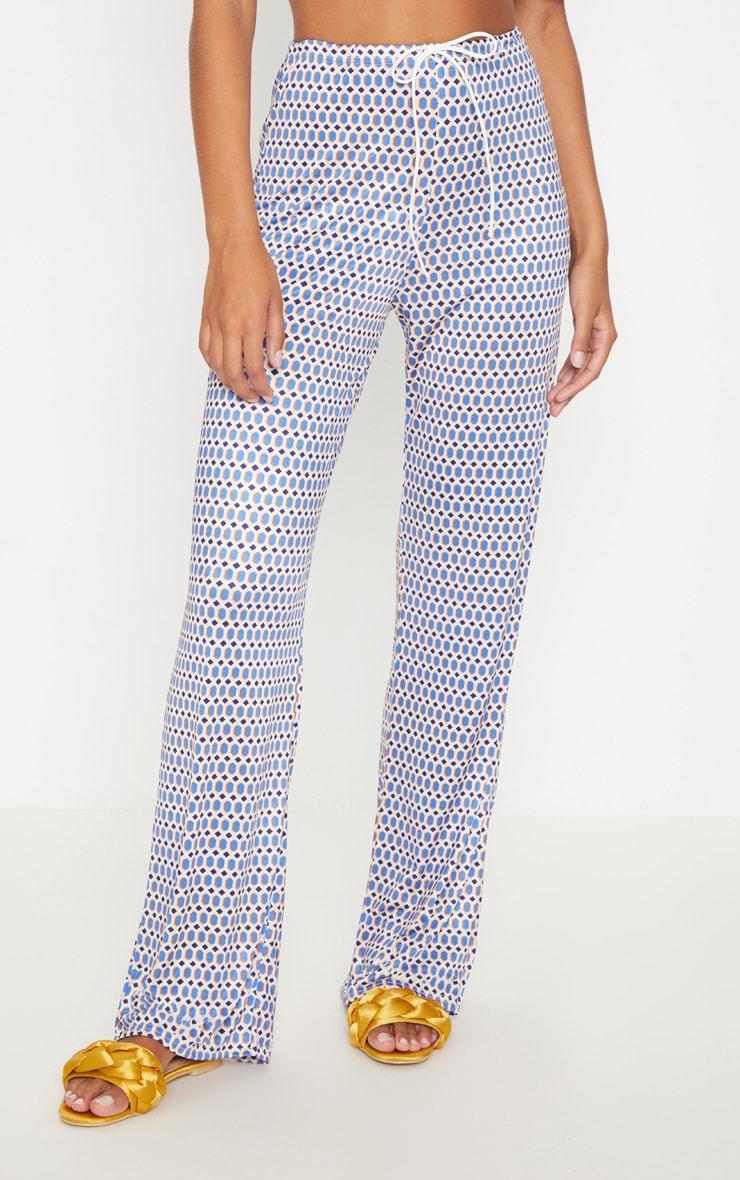 Blue Slinky Geo Print Wide Leg Trouser 2