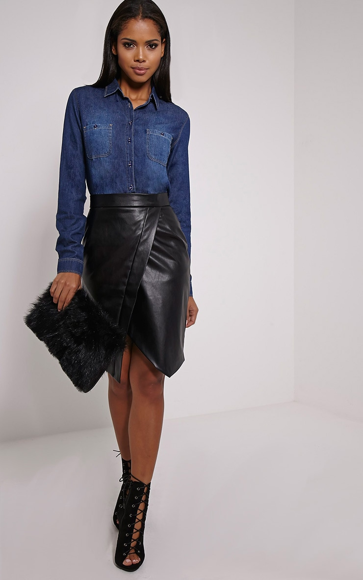 Fairah Mid Blue Fade Front Denim Shirt 3
