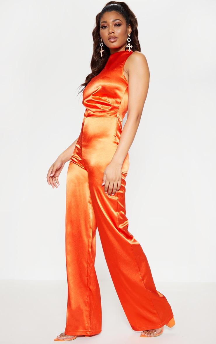 Tall Orange Satin High Neck Jumpsuit 4