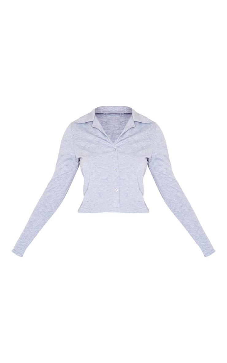 Grey Jersey Button Up Shirt 5