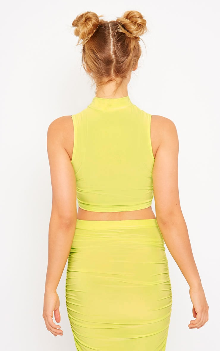 Saylor Lime Sleeveless Slinky Crop Top 4