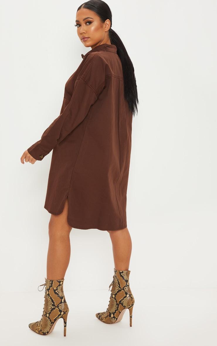 Petite Chocolate Brown Tortoise Button Oversized Denim Shirt Dress 2