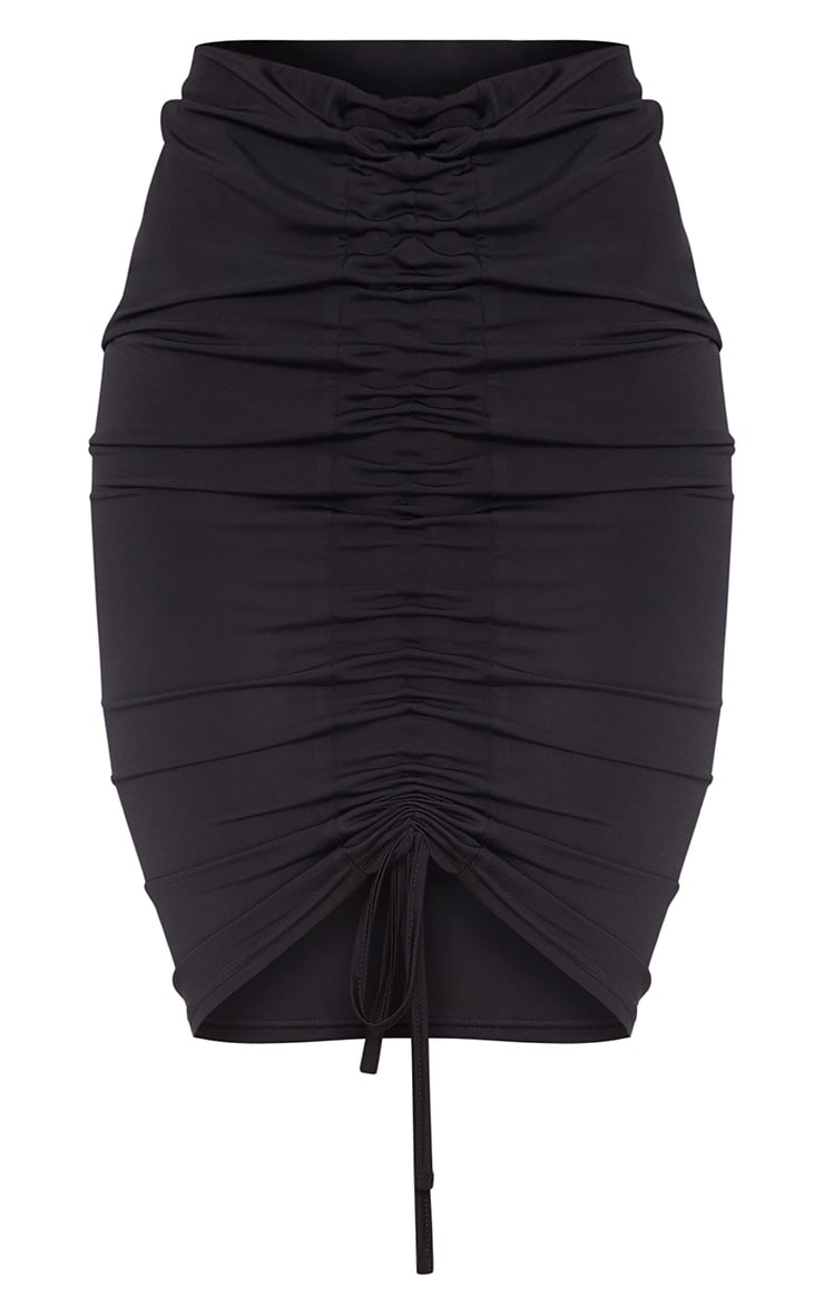 Black Slinky Ruched Front Midi Skirt 3