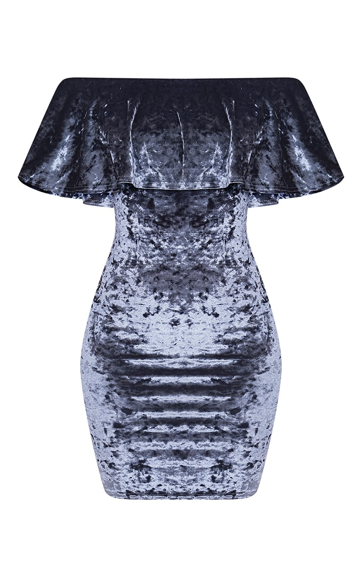 Juliarna Grey Crushed Velvet Frill Detail Bodycon Dress 3