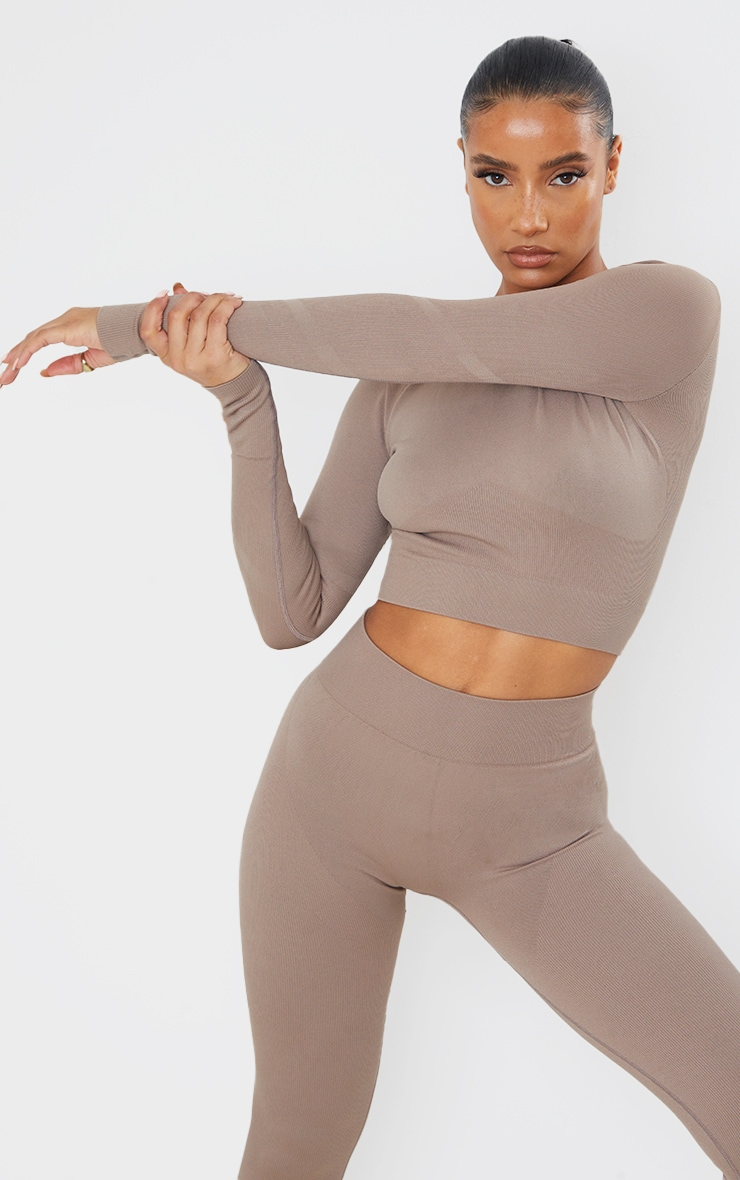 Taupe Seamless Long Sleeve Rib Detail Sports Top 2