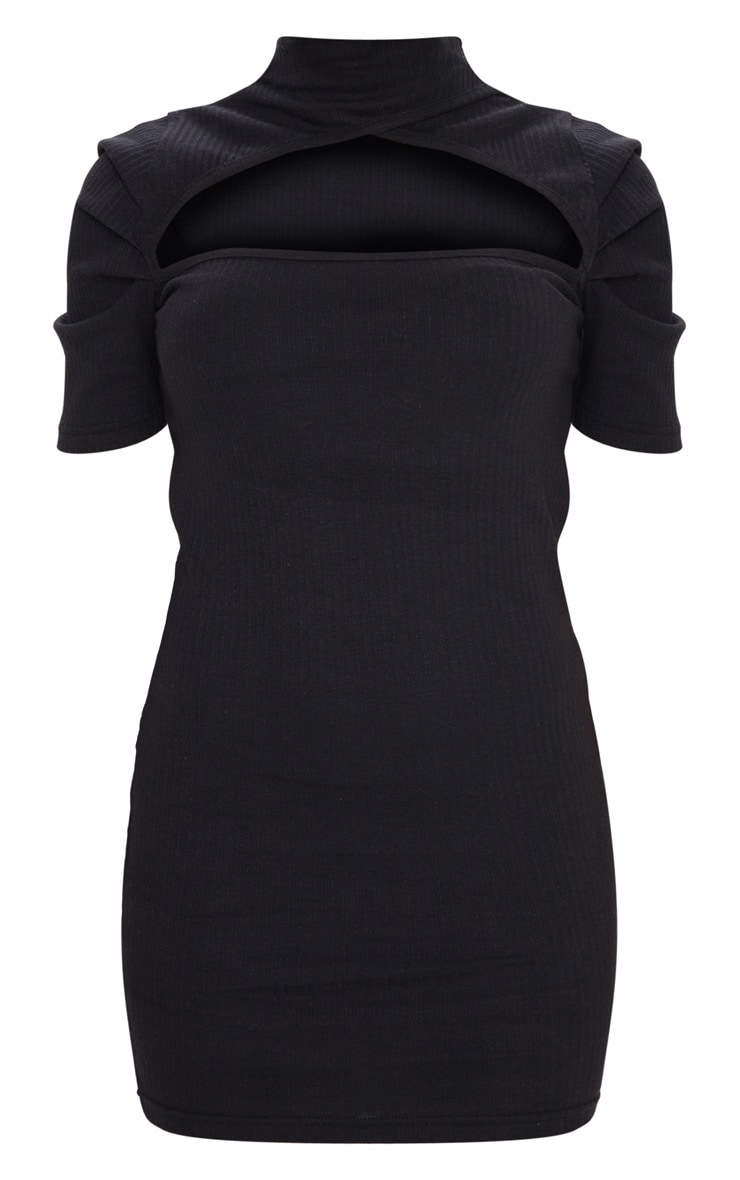 Black Thick Rib Cut Out Neck Puff Sleeve Bodycon Dress 5