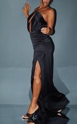 Black Satin Cross Neck Draped Maxi Dress 4
