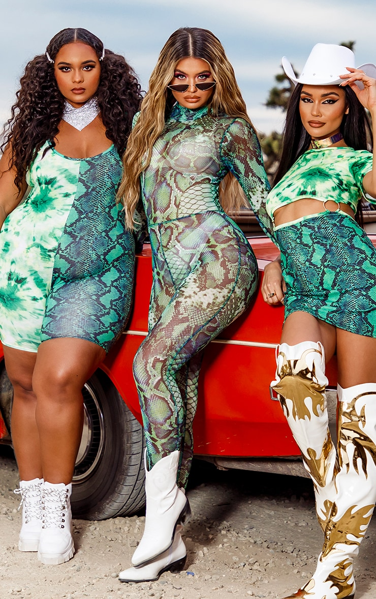 Green Mixed Animal Print Mesh Jumpsuit 4