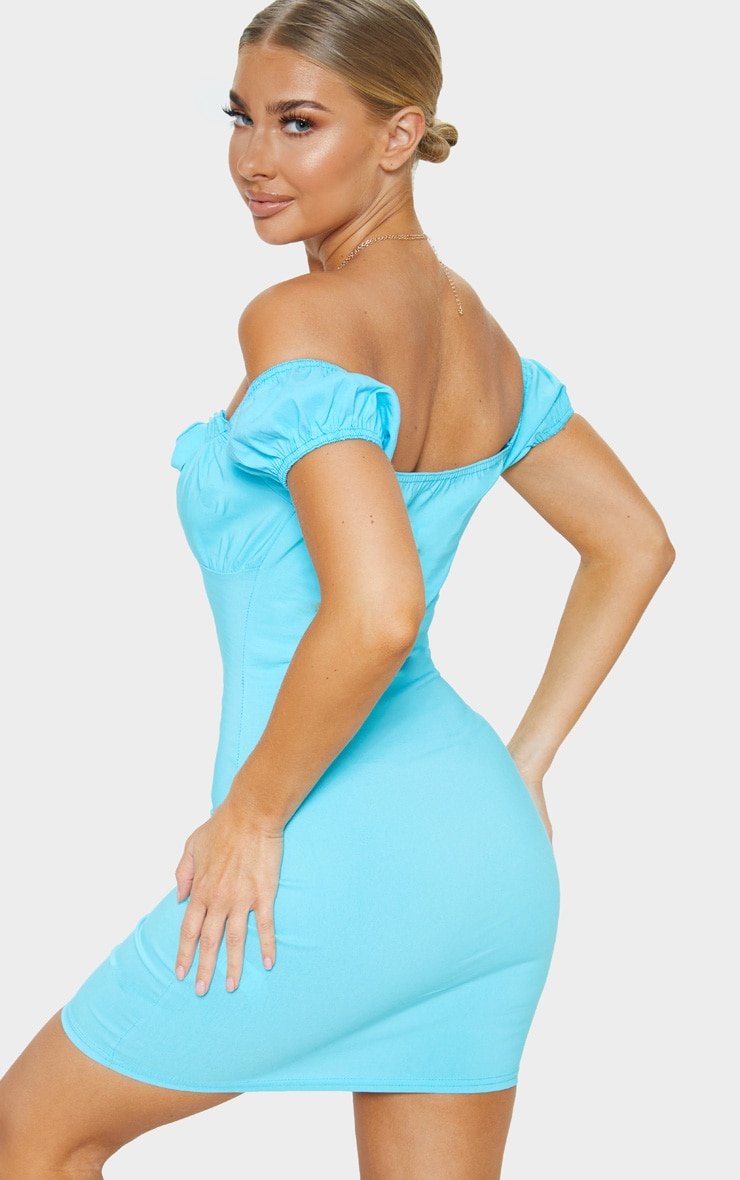 Aqua Woven Bardot Tie Front Bodycon Dress 2