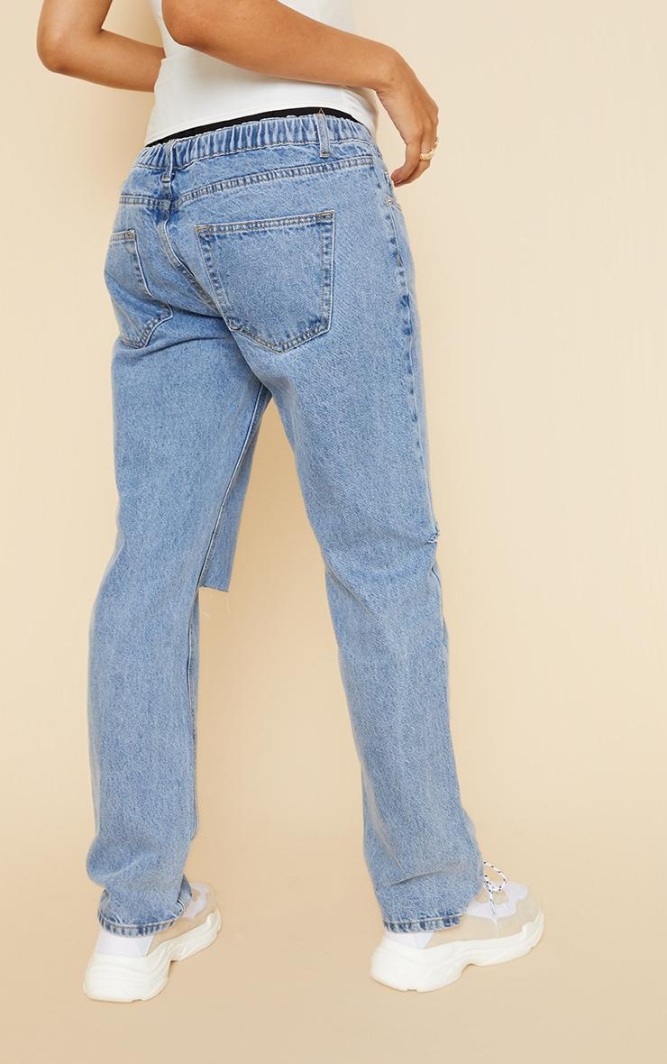 Maternity Mid Wash Knee Rip Straight Leg Jeans 3