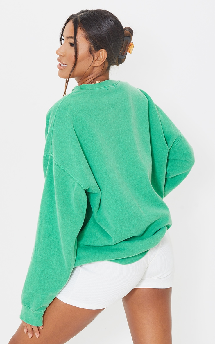 PRETTYLITTLETHING Green Luxe Good Small Print Text Sweat 2