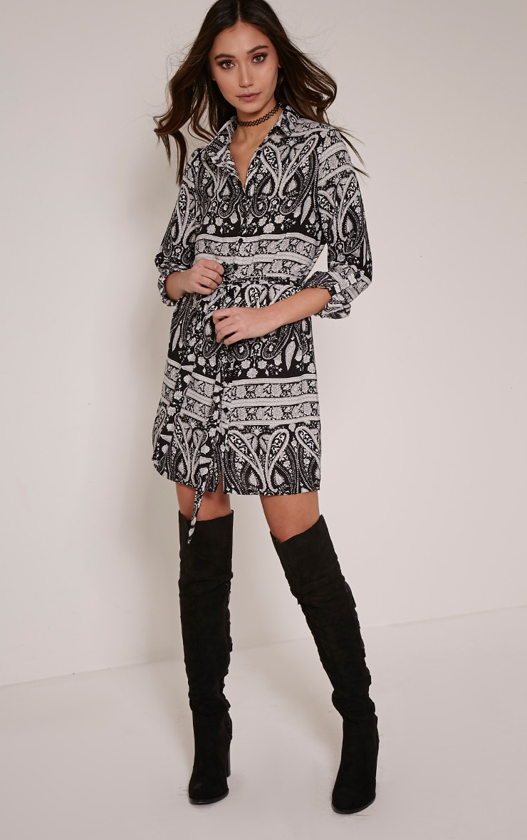 Hetty Monochrome Paisley Print Shirt Dress 3