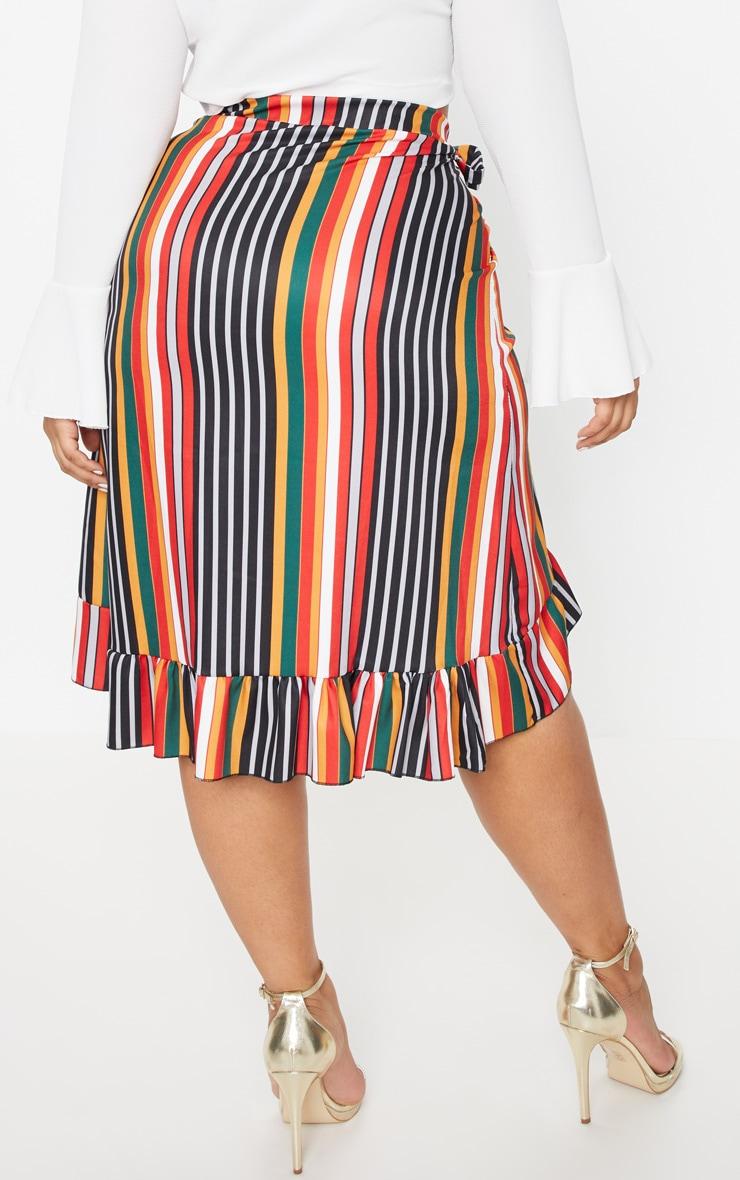 Plus Multi Striped Wrap Midi Skirt 4