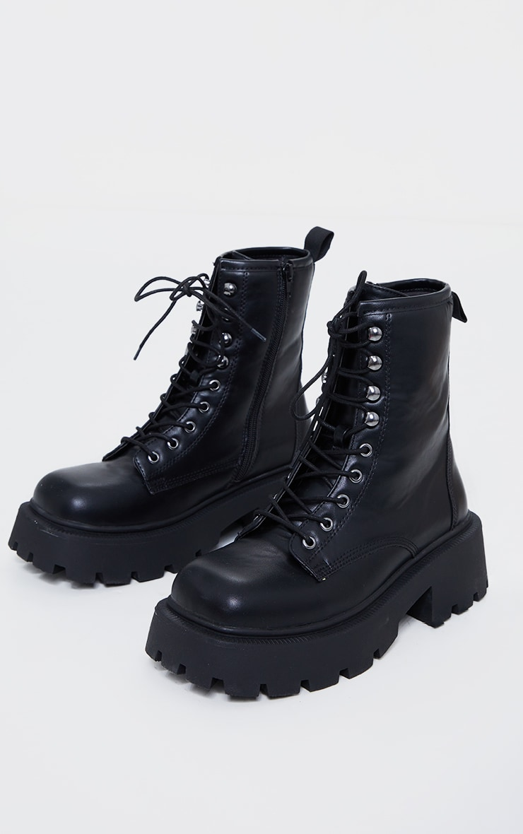Black Extra Chunky Sole Lace Up Biker Boots 3