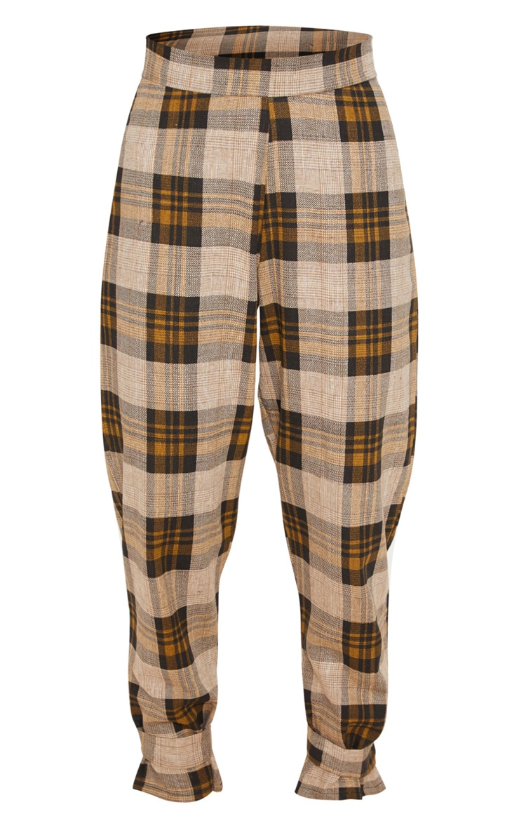 Brown Check Peg Leg Trousers 3