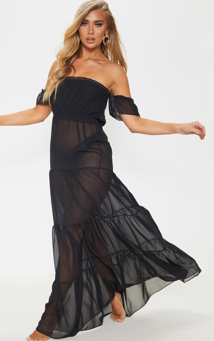 Black Bardot Frill Tiered Chiffon Maxi Beach Dress 1