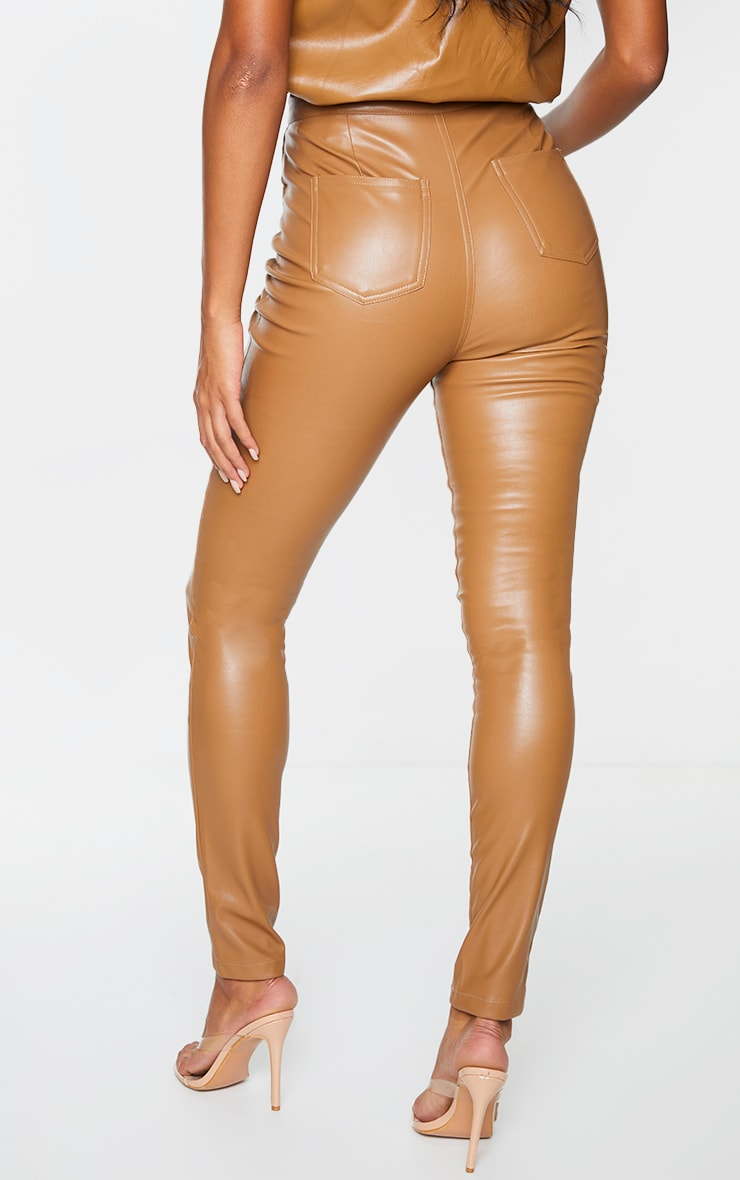 Camel Button Up Faux Leather Skinny Trousers 3