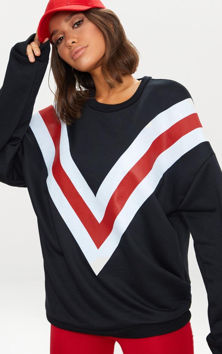 Black Chevron Oversized Sweater  1