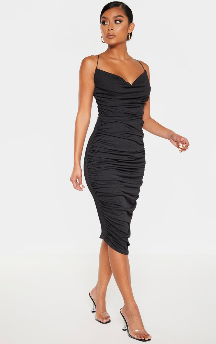Black Crinkle Texture Ruched Cowl Neck Midi Dress 4