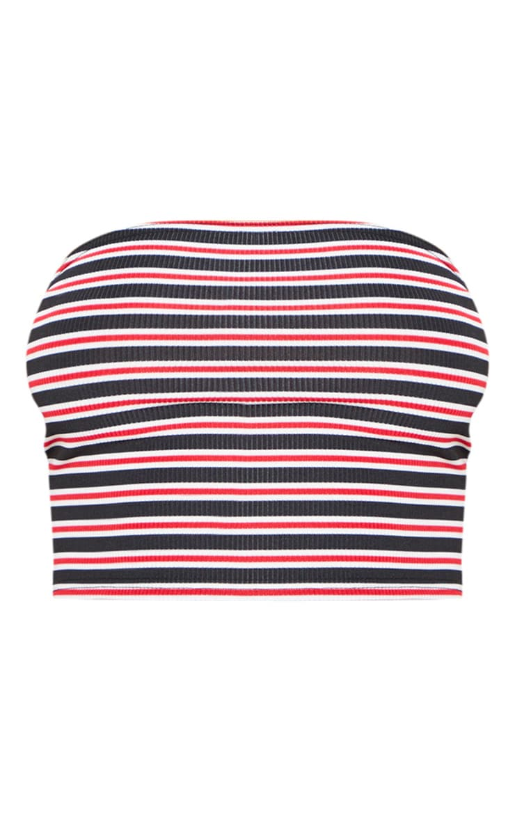 Basic Red Ribbed Stripe Bandeau Crop Top 3