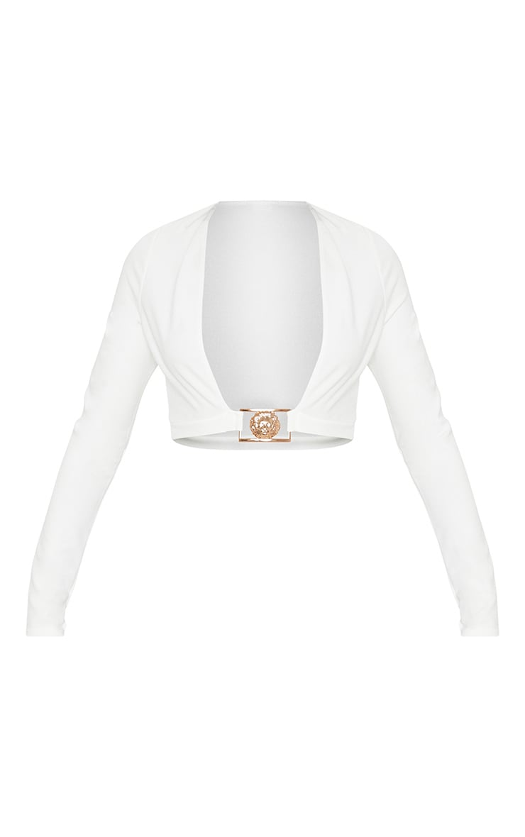 White Lion Clasp Plunge Long Sleeve Crop Top   3
